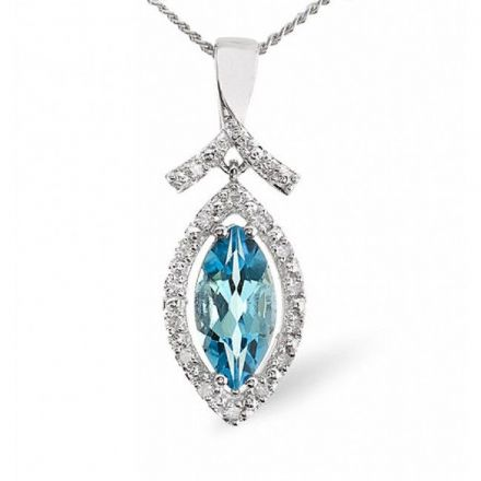 9K White Gold 0.10ct Diamond & 1.15ct Blue Topaz Pendant, E2671